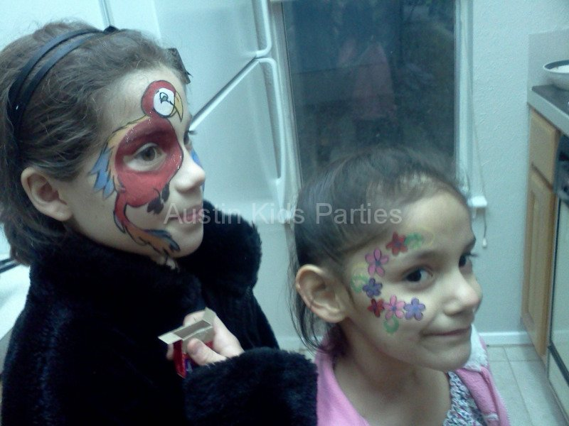 bird and flowers face painting